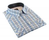 Chemise manches courtes carreaux blanc et bleu de 3XL à 7XL