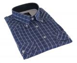 Chemise manches courtes carreaux bleu marine et gris de 3XL à 7XL