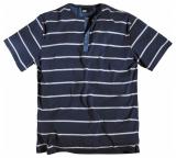 T-shirt marine ligné blanc manches courtes col boutonné de 3XL à 7XL