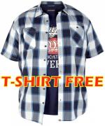Chemisette carreaux bleu marine, gris, blanc t-shirt free 1XL à 5XL
