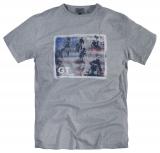 T-shirt manches courtes gris chiné 3XL à 8XL Motif Moto