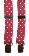 Bretelle rouge pois blanc à pinces