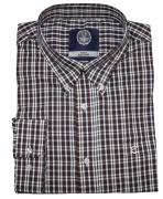 Chemise manches longues carreaux bleu marine, brun, blanc de 3XL à 8XL