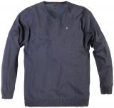 Pull grande taille pour homme col en v  Gris Bleu Denim de XL à 8XL