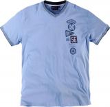 T-shirt Imprimé col en v manches courtes bleu clair 2XL à 8XL