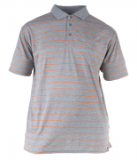 Polo gris ligné orange Col boutonné de 1XL à 4XL