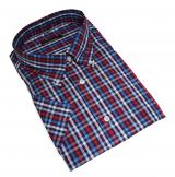 Chemise manches courtes carreaux marine bordeaux blanc de 2XL à 6XL