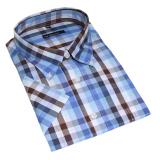 Chemise manches courtes carreaux bleu brun de 2XL à 6XL