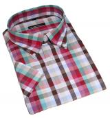 Chemise manches courtes carreaux rouge brun vert de 2XL à 3XL