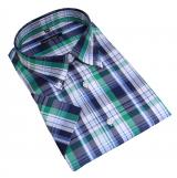 Chemise manches courtes carreaux bleu vert blanc de 2XL à 6XL