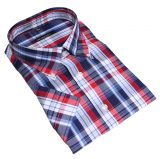 Chemise manches courtes carreaux bleu rouge blanc de 2XL à 6XL