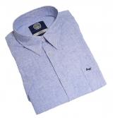 Chemise manches courtes en lin bleu clair de 3XL à 8XL