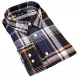 Chemise hiver manches longues carreaux bleu marine, noir, ocre de 3XL à 8XL