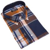 Chemise manches longues grands carreaux bleu ocre de 3XL à 8XL