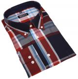 Chemise manches longues grands carreaux bleu rouille de 3XL à 8XL