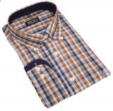 Chemise manches longues petits carreaux bleu marine, ocre de 3XL à 8XL