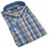 Chemise manches longues petits carreaux bleu, ocre de 3XL à 8XL