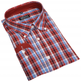 Chemise manches longues petits carreaux bleu, rouille de 3XL à 8XL