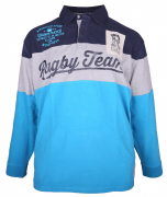 Polo Rugby manches longues Marine Gris Bleu